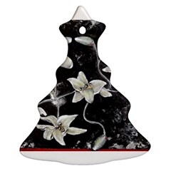 Black And White Lilies Christmas Tree Ornament (2 Sides)