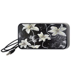 Black And White Lilies Portable Speaker (black)