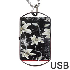 Black And White Lilies Dog Tag Usb Flash (one Side)