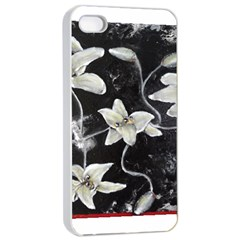 Black And White Lilies Apple Iphone 4/4s Seamless Case (white)