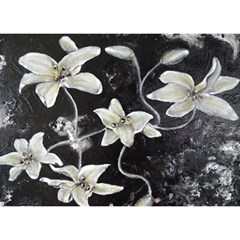 Black and White Lilies Birthday Cake 3D Greeting Card (7x5)