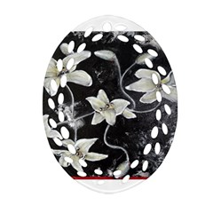 Black and White Lilies Oval Filigree Ornament (2-Side)