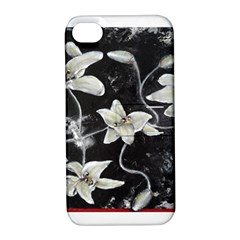 Black And White Lilies Apple Iphone 4/4s Hardshell Case With Stand