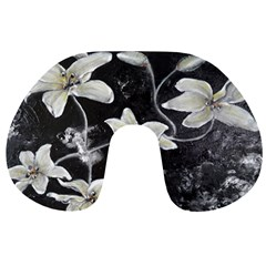 Black and White Lilies Travel Neck Pillows