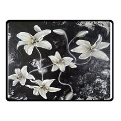 Black and White Lilies Double Sided Fleece Blanket (Small)