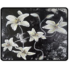 Black and White Lilies Double Sided Fleece Blanket (Medium)