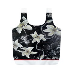 Black And White Lilies Full Print Recycle Bags (m)