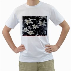 Black And White Lilies Men s T Shirt (white)