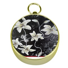 Black and White Lilies Gold Compasses