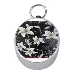 Black and White Lilies Mini Silver Compasses