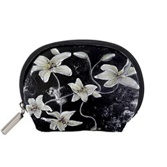 Black And White Lilies Accessory Pouches (small)