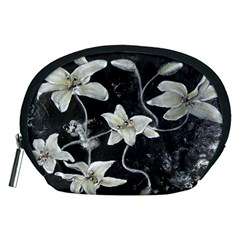 Black And White Lilies Accessory Pouches (medium)