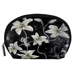 Black And White Lilies Accessory Pouches (large)