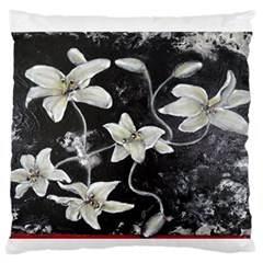 Black and White Lilies Large Flano Cushion Cases (One Side)