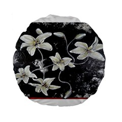 Black And White Lilies Standard 15  Premium Flano Round Cushions