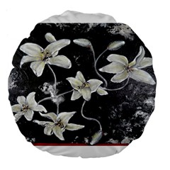 Black and White Lilies Large 18  Premium Flano Round Cushions