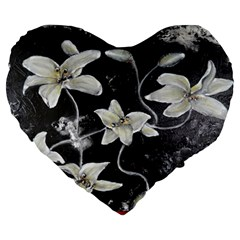 Black and White Lilies Large 19  Premium Flano Heart Shape Cushions