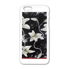 Black and White Lilies Apple iPhone 6 White Enamel Case