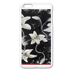 Black and White Lilies Apple iPhone 6 Plus Enamel White Case