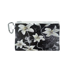 Black and White Lilies Canvas Cosmetic Bag (S)