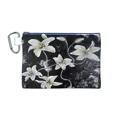 Black and White Lilies Canvas Cosmetic Bag (M)