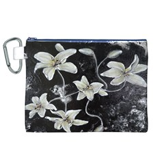Black and White Lilies Canvas Cosmetic Bag (XL)