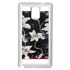 Black and White Lilies Samsung Galaxy Note 4 Case (White)