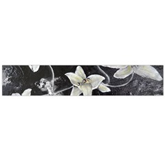 Black and White Lilies Flano Scarf (Large)