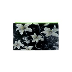 Black and White Lilies Cosmetic Bag (XS)