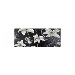 Black and White Lilies Satin Scarf (Oblong)
