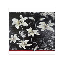 Black and White Lilies Small Satin Scarf (Square)