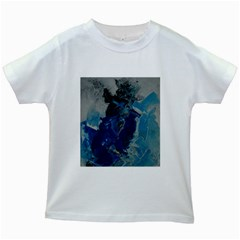 Blue Abstract Kids White T-Shirts