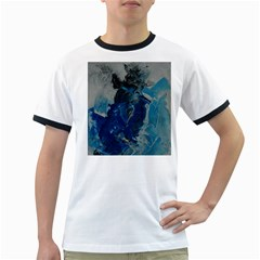 Blue Abstract Ringer T-Shirts