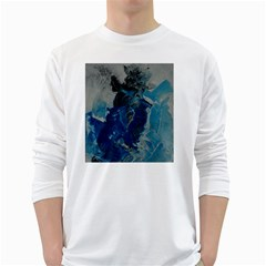 Blue Abstract White Long Sleeve T-Shirts
