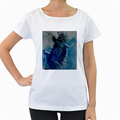 Blue Abstract Women s Loose-Fit T-Shirt (White)