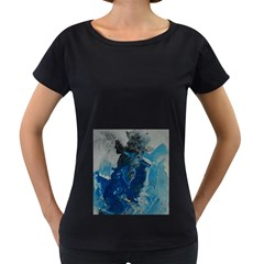 Blue Abstract Women s Loose-Fit T-Shirt (Black)