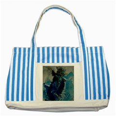 Blue Abstract Striped Blue Tote Bag