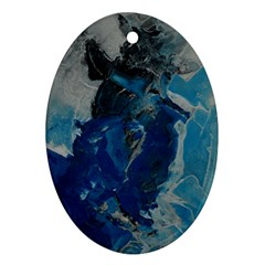 Blue Abstract Oval Ornament (two Sides)