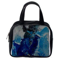 Blue Abstract Classic Handbags (one Side)