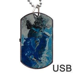 Blue Abstract Dog Tag USB Flash (One Side)