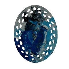 Blue Abstract Oval Filigree Ornament (2-Side)