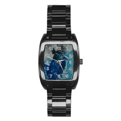 Blue Abstract Stainless Steel Barrel Watch