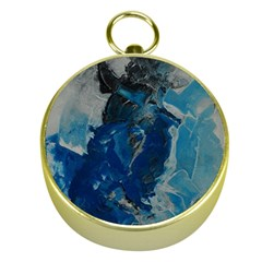 Blue Abstract Gold Compasses