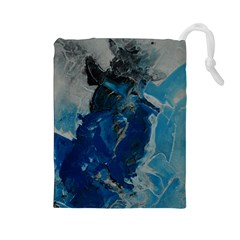 Blue Abstract Drawstring Pouches (large)