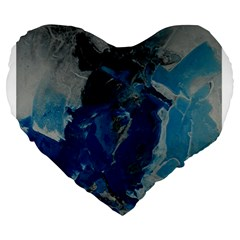 Blue Abstract Large 19  Premium Flano Heart Shape Cushions