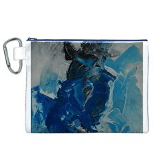 Blue Abstract Canvas Cosmetic Bag (XL)
