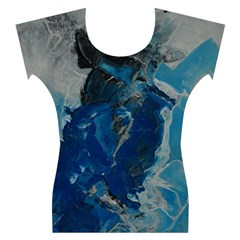 Blue Abstract Women s Cap Sleeve Top