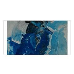 Blue Abstract Satin Shawl
