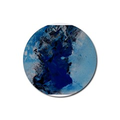 Blue Abstract No 2 Rubber Round Coaster (4 Pack)