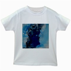 Blue Abstract No.2 Kids White T-Shirts